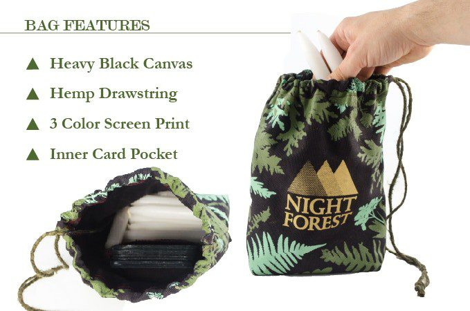 Bag Features, Heavy black canvas, hemp drawstring, 3 color screen print, inner card pocket